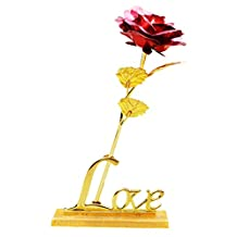 SUN 24K 9.9 Inch Gold Foil Rose Flower With Love Base for Valentine's Day, Mother's Day, Anniversary, Birthday Gift, Wedding Home Deco(RED)