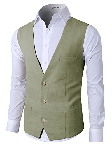 H2H Mens Business Casual Slim Fit Stylish Suit Solid 3 Button Linen Vest Khaki US S/Asia M (CMOV039)