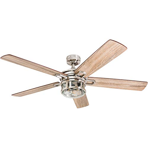 "Honeywell Ceiling Fans 50610-01 Bonterra Ceiling Fan with Remote Control, Rustic LED Edison Light Fixture, 52"" Indoor Farmhouse Ancient Pine/Bamboo Blades, Brushed Nickel"