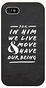 For in him we live and move have our being - Bible verse iPhone 5 / 5s black plastic case / Christian Verses