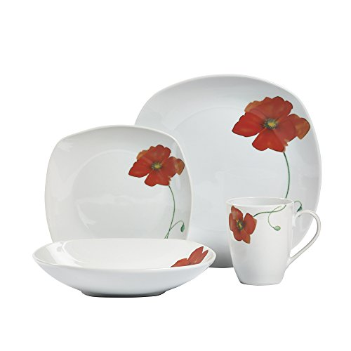 Tabletops Gallery White Dinnerware Set with Plate, Salad Plate, Cereal Bowl, and Mug (Service for 4), Poppy Soft Square…