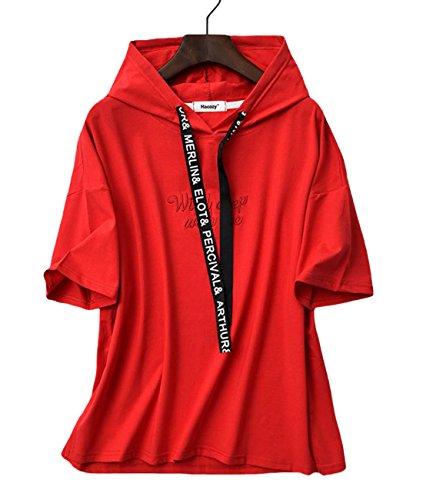 治世騒ぎ公式S-XINY パーカー レディース Tシャツ 半袖 綿 フード付き 無地 夏 ゆったり トップス カジュアル ファッション 着痩せ
