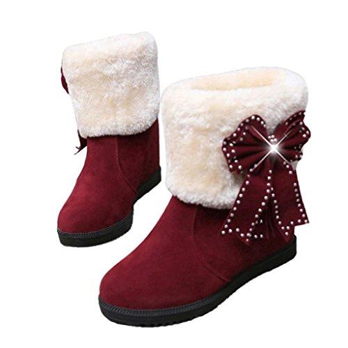 Transer® Damen Mädchen Winter Schnee Stiefel & Stiefeletten Warm Weich Pelz Schuh Bowknot Mode Stiefel Rot