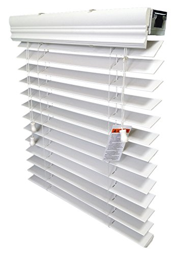 2'' Faux Wood Blind, Inside-Mount, 34 3/8 W X 72'' H, White by US Window And Floor (Image #1)