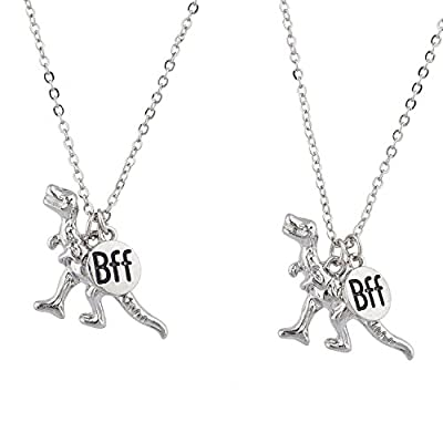 Lux Accessories Silver Tone Dinosaur BFF Best Friends Forever Necklace Set (2pc): Jewelry