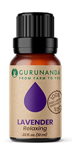 Lavender Essential Oil (1oz) by GuruNanda - Aromatherapy - GCMS Tested & Verified 100% Pure Essential Oils for Diffusers - Undiluted - Therapeutic Grade (Lavender)
