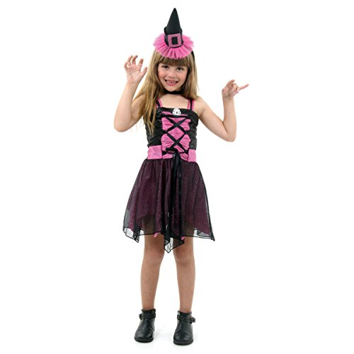 Fantasia Bruxa Aranha Fashion Infantil Sulamericana Fantasias Preta/Rosa G 10/12 Anos
