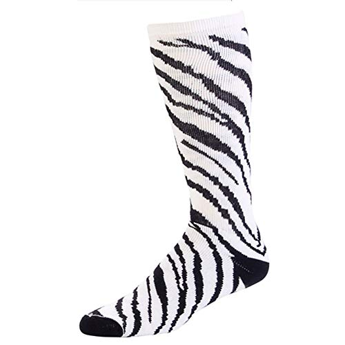 Pizzazz Girls White Zebra Stripe Knee High Socks Cheer Dance 12-5 ()