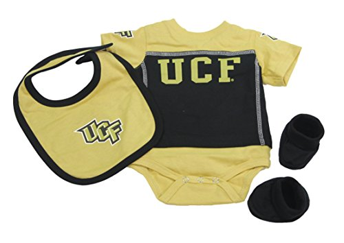 Outerstuff Central Florida Knights Baby Clothing, University 3 Piece Creeper Bib Booties Apparel Set ()