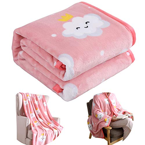 (Suzzy Bedding Flannel Fleece Wearable Blanket Throw for Adults Microfiber Functional Lightweight Blanket Poncho for Bed Couch Sofa Chair Dorm Travel (Pink Cloud, Throw))