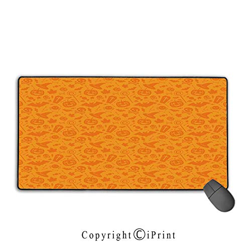 (Extended Mousepad with Durable Stitched Edges,Halloween Decorations,Monochrome Design with Traditional Halloween Themed Various Objects Day,Orange, Non-Slip Rubber)