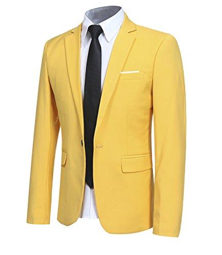 Yellow Giacca Casual Blazer Slim Smart Bottone Allthemen Un vw84UHSq