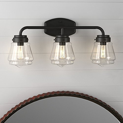 Stone & Beam Vintage 3-Light Vanity Fixture, 11.5''H, With Bulb, Matte Black with Glass Shade by Stone & Beam (Image #2)