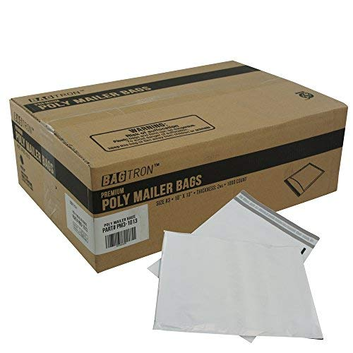 Bagzilla Poly Mailer Bags Shipping Envelopes Grey 2.0mil (#3 (10x13)-1000) by Bagzilla