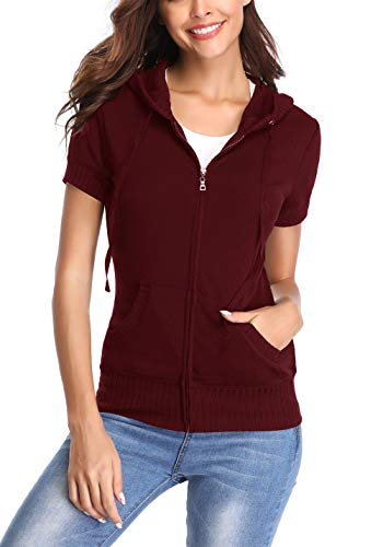 MISS MOLY Women's Hoodie Zip up Short Sleeve Jacket w 2 Patch Pocket … Wine Red