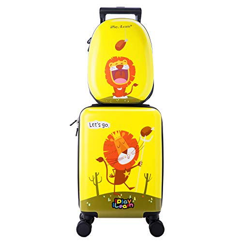 Kids Carry On Rolling Luggage, Hard Shell Travel Upright Suitcase Boys Children (Yellow-1)