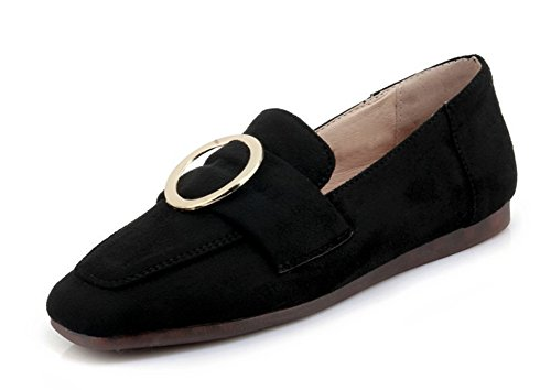 Aisun Damen Oxford Nubuk Kunstleder Metallic Ring Riemchen Low Top Flach Ballerinas Schwarz