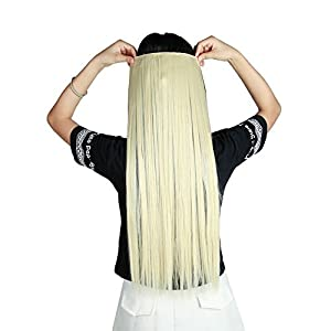 13colors Synthetic Fiber Clips in on Hair Extension 3/4 Full Head One Piece 5 Clips Long Straight Curly Wavy 613 Bleach Blonde 30 Inches