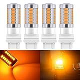 KATUR 4pcs 3157 3047 3057 3155 5630 33-SMD Amber 900 Lumens 8000K Super Bright LED Turn Tail Brake Stop Signal Light Lamp Bulb 12V 3.6W