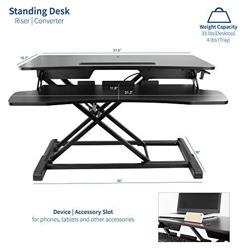 VIVO Black Height Adjustable 32 inch Standing Desk Converter   Sit Stand Dual Monitor and Laptop Riser Workstation (DESK-V000K)