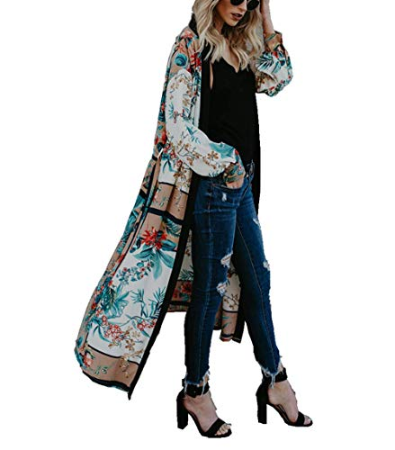 JESPER Women's Bohemia Floral Lapel Long Kimono Oversized Shawl Cardigan Tops (Green A, Medium(USA 8/10) /Tag M) ()