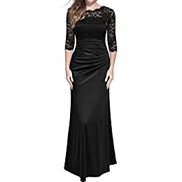 MIUSOL Women's V Neck Lace Pleat Long Evening Dress