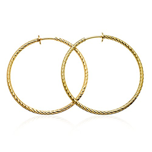(PammyJ Goldtone Textured Hoop Fashion CLIP-ON Earrings 1.5 inches)