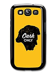 AMAF ? Accessories Johnny Cash Profile Illustrations Cash Only Yellow Background case for Samsung Galaxy S3