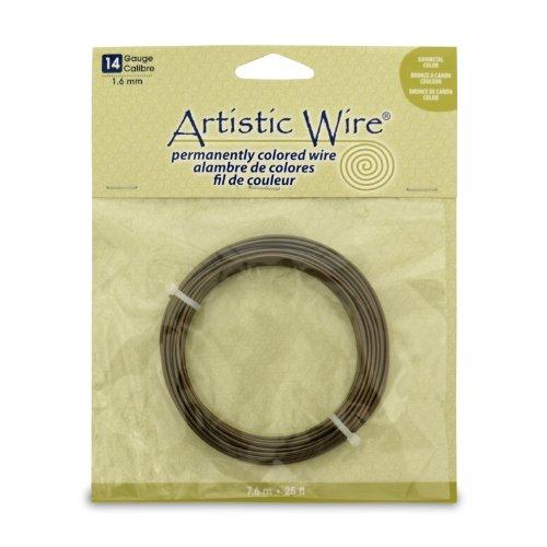 Artistic Wire 14 Gauge Wire, Antique Brass, 25-Feet