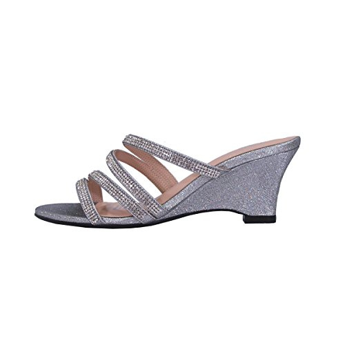Silver Kelly Size Measurement Party Women Floral Slip Rhinestone Heeled On Sandals Wide Wedge Strappy Width 6a7CCqwd