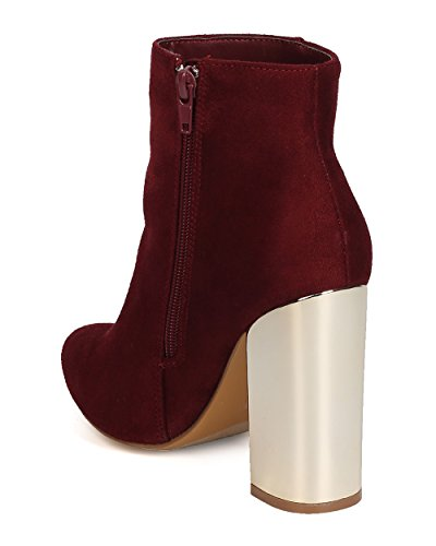 Block Toe 1 Footwear Bootie Monet Heel Suede Burgundy Pointy Static Metallic Women Faux gfCaxqw