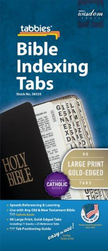 Large Print Catholic Goldtone-Edged Adhesive Old and New Testament Bible Indexing Tabs