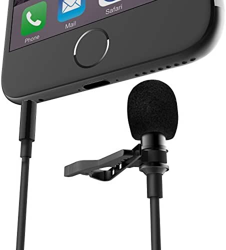 FanRos Enhanced Lavalier Condenser Mic Lapel Clip-on Recording Microphone with Clear Loud Dialog Wind Resistance for iPhone iPad iPod Gopro Samsung HTC Android and Windows Smartphones (Black)