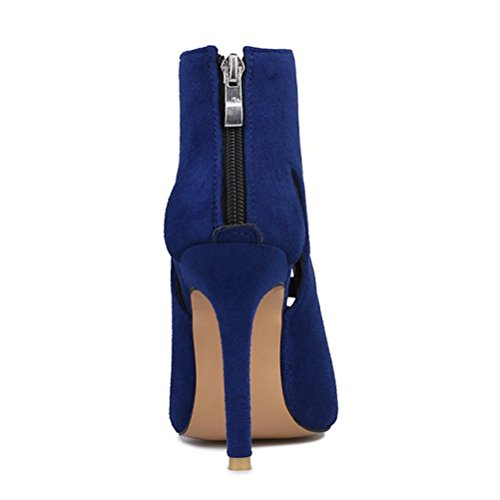 Heels Boots Agodor Zip Peep Party Cut Fashionable Toe High Out Womens Summer Pumps With Ankle Blue 0qqxUEz
