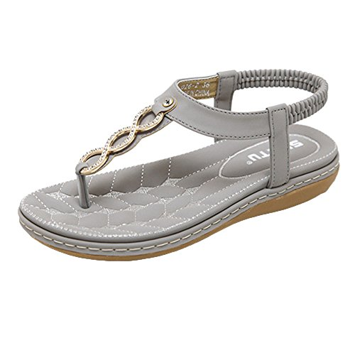 Goddessvan 2019 Women Ankle Strap Flat Sandals - Bohemian Flip Flop Platform Sandals Strappy T Strap Thong Beach Shoes Gray
