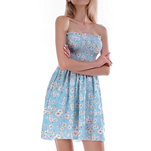Verano Casual Mangas Impresión Vestido Mini Mujer Vestir Retro Azul de Falda Vestido Camisetas Ropa de Fiesta Playa Playa sin Mujeres DOGZI de Vestido Niña de Chaleco de Vestido Cielo PEwq0Xtw