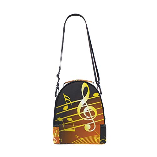 de Bolso símbolo ajustable para almuerzo picnic con música de doble notas correa de y diseño doradas TwHRn1HB