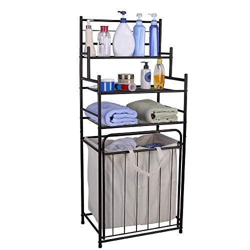 3 Tier Storage Tower - Mythinglogic Laundry Hamper 3 -Tier Storage Shelves Bathroom Tower Storage Organizer Dual Compartment Removeable Hamper Bathroom, Laundry Room, Closet, Nursery - Matt Black