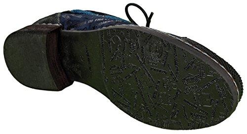 Charme Zapatillas de Piel Para Mujer Multicolor Azul y Negro