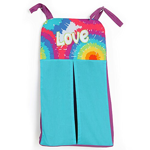 One Grace Place Terrific Tie Dye Diaper Stacker, Aqua Blue, Royal Blue, Purple, Yellow, Green, Orange, Pink, Red and White