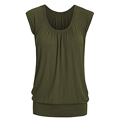 Toimothcn Women Casual Round Neck Solid Short Sleeve T-Shirt Tunic Top Blouse(Army Green,S) ()