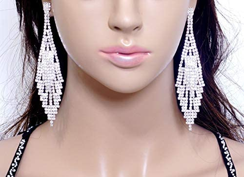 "#E121T 4/"" non-pierced CLIP ON EARRINGS Clear Crystal Chandelier Bridal Pageant"