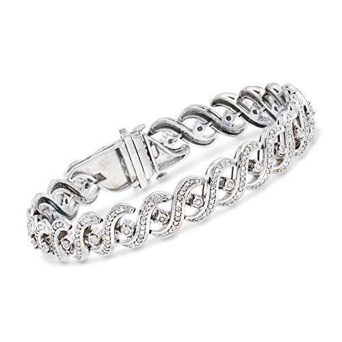 Ross-Simons 1.00 ct. t.w. Diamond Wavy Link Bracelet in Sterling Silver