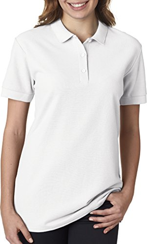 Gildan 82800L Premium Cotton Ladies Polo - White - L
