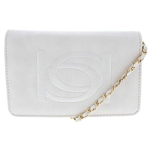 Bebe Womens Andrea Faux Leather Clutch Crossbody Handbag White (Bebe Clutch)