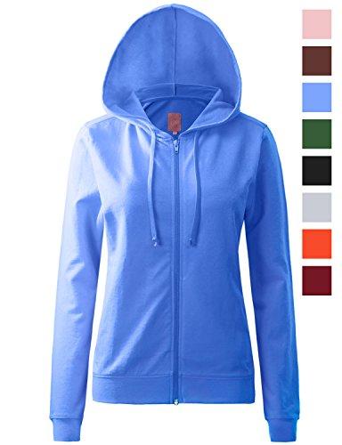 Blue Zip Hooded Sweatshirt (REGNA X womens long casual loose plus size full zip hooded sweatshirt Blue S)