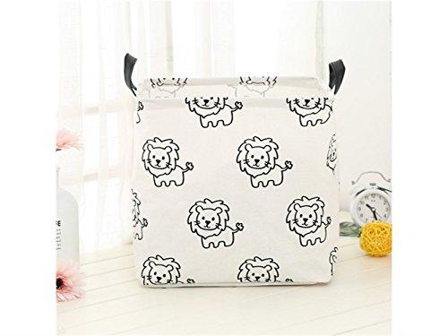 Gelaiken Lightweight Lion Pattern Storage Box Laundry Basket Cotton and Linen Storage Box (White) by Gelaiken