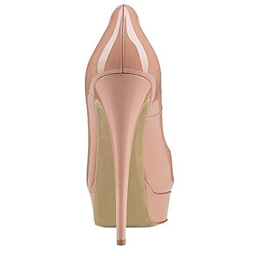 Peep Pumps T Toe Heel Nude Stiletto Chris Platform Womens qFBHxAwS