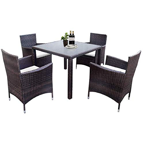 ALI VIRGO Rattan Patio Furniture, Outdoor Wicker All-Weather Cushioned Sectional Garden Conversation Sets, (5 Pieces, Beige