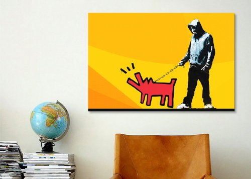iCanvasART 2261B Choose Your Weapon Keith Haring Dog Orange ll by ...
